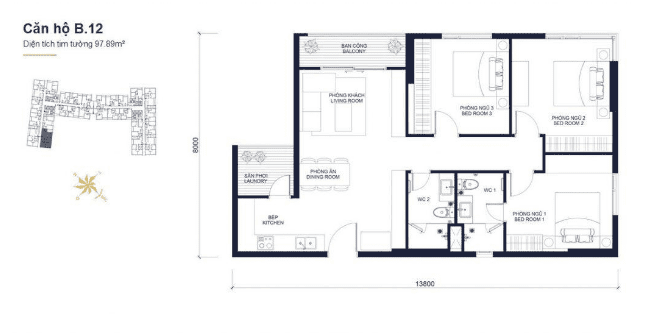 Floor plans apartment of Block B 1