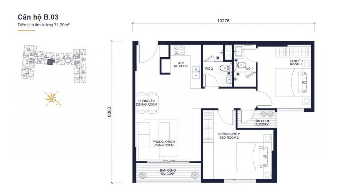 Floor plans apartment of Block B03