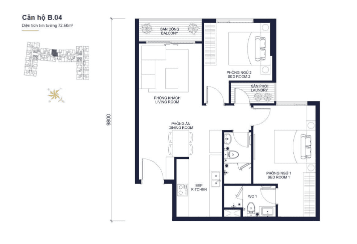 Floor plans apartment of Block B04